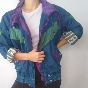 Vintage 80s retro denim Colorblock bomber jacket